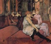 At The Salon Rue des Moulins Henri de toulouse-lautrec